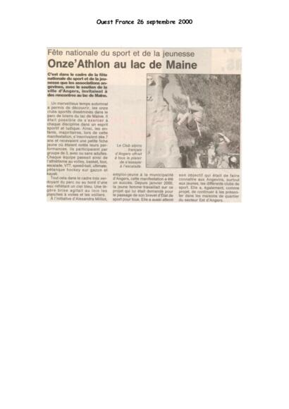 ONZE'ATHLON AU LAC DE MAINE